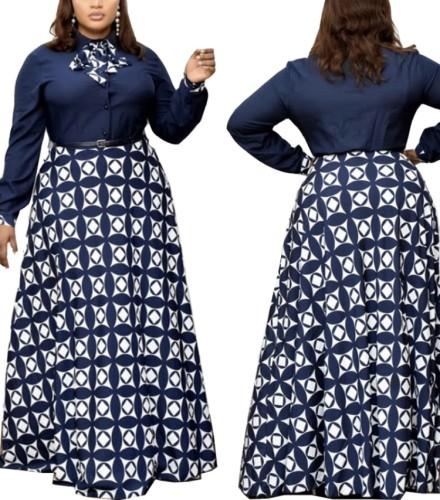 Autumn Mature Women Print Long Maxi Dress with Belt
