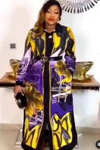 Autumn Mature Women Print Long Maxi Dress