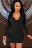 Mini vestido ajustado sexy negro de fiesta de otoño