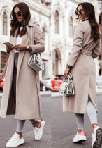 Winter Elegant Beige Turndown Collar Long Woolen Coat with Belt