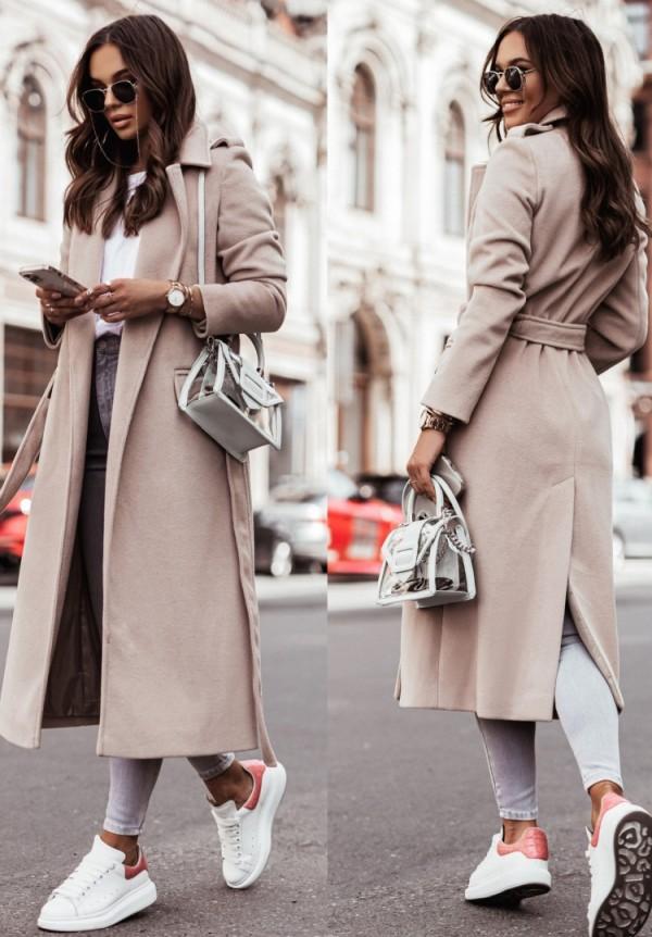 Abrigo largo de lana beige con cuello vuelto elegante de invierno con cinturón