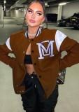 Chaqueta de béisbol larga marrón con estampado de botones de invierno