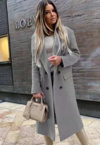 Winter elegante grijze kraag lange blazer met volledige mouwen