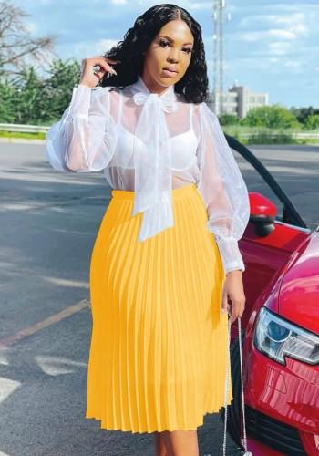 Falda plisada de cintura alta amarilla elegante de otoño