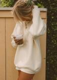 Sudadera con cuello redondo beige con estampado de otoño