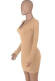 Mini vestido ajustado sexy de color caqui de fiesta de otoño