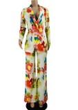 Conjunto de dos piezas de blusa y pantalones formales florales con estampado de otoño