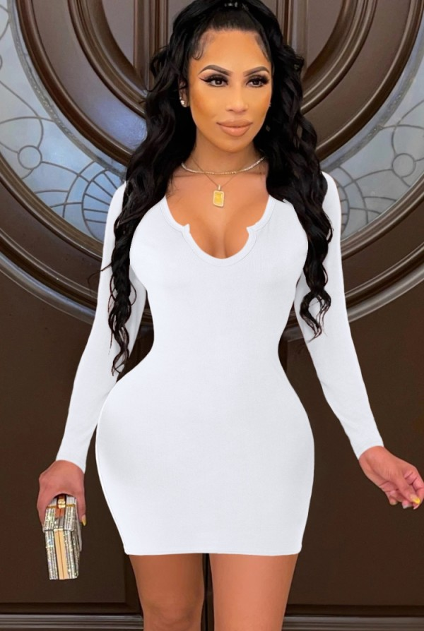 Mini vestido ajustado sexy blanco de fiesta de otoño