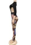 Conjunto de leggings estampados y body sexy de fiesta de otoño