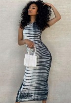 Ärmelloses langes, figurbetontes Kleid mit Sommer-Print