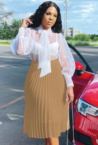 Falda plisada de cintura alta de color caqui elegante de otoño