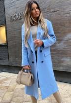 Winter Eleganter blauer Umlegekragen langer Blazer mit vollen Ärmeln