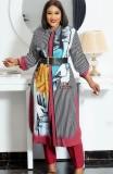 Vestido maxi largo con estampado de mujeres maduras de otoño