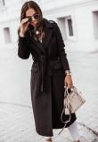 Abrigo largo de lana con cuello de cobertura negro elegante de invierno con cinturón
