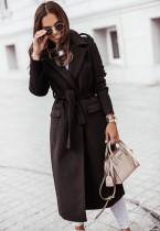 Winter Eleganter schwarzer Umlegekragen langer Wollmantel mit Gürtel
