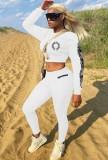 Conjunto de pantalón y top corto entallado blanco con estampado casual de otoño