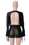 Conjunto de minifalda y top corto negro transparente de fiesta de otoño