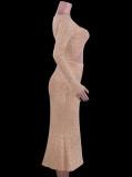 Vestido largo decente recortado de color caqui de invierno