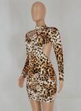 Mini vestido con espalda abierta y estampado de leopardo sexy de fiesta de otoño