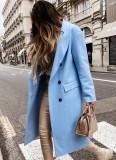 Chaqueta larga con cuello vuelto azul elegante de invierno con mangas completas