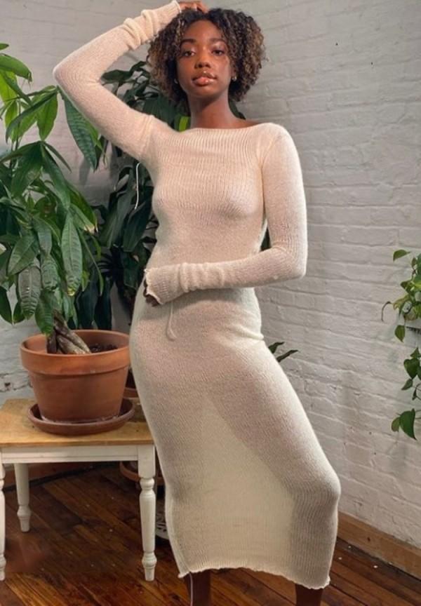 Vestido ajustado largo liso liso de invierno