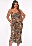 Vestido de fiesta largo con correa elegante y estampado de leopardo de otoño