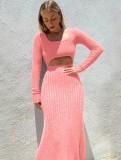Vestido largo decente recortado rosa de punto de invierno