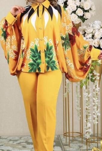 Autumn Mature Women Print Blouse and Pants Set