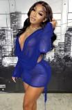 Conjunto de minifalda y top corto azul transparente de fiesta de otoño