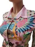 Conjunto de dos piezas de blusa y pantalones elegantes retro con estampado de otoño