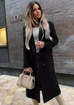Kışlık Zarif Tam Kollu Siyah Devirme Yaka Uzun Blazer