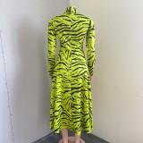 Herbst Grün Tiger Streifen Stehkragen Aushöhlen Volle Ärmel A-Linie Langes Kleid