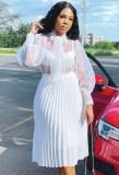 Falda plisada de cintura alta blanca elegante de otoño