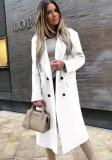 Chaqueta larga con cuello vuelto blanco elegante de invierno con mangas completas