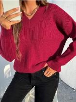 Suéter regular con cuello en V de color rosa otoñal