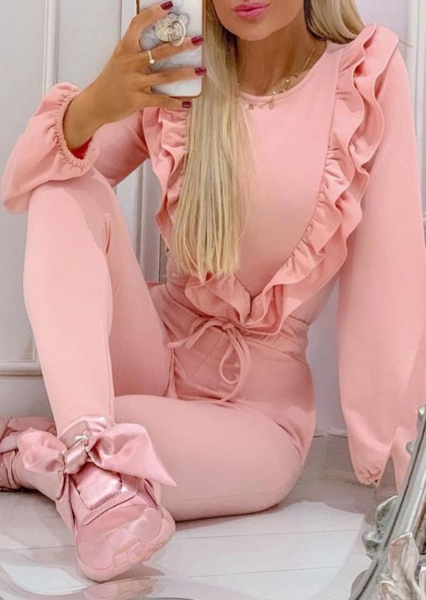 Conjunto de camisa y pantalón con volantes en rosa otoñal