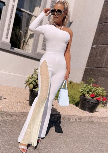 Herfst witte elegante patch mesh een schouder jumpsuit