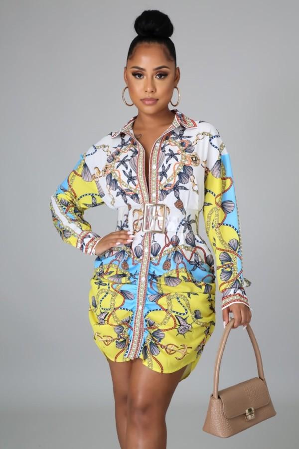 Vestido de blusa retro africa con estampado de otoño