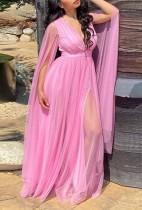 Vestido largo largo de malla en V profundo rosa formal de talla grande de otoño