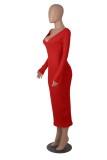 Vestido ajustado largo con cuello en V rojo de invierno