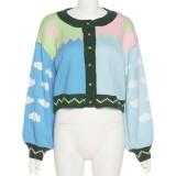 Abrigo de suéter corto con manga abullonada de color de contraste de otoño