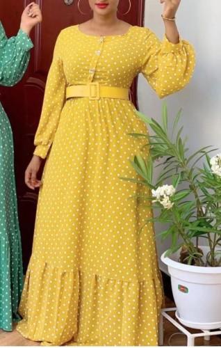 Abito lungo lungo giallo elegante a pois autunnale con cintura