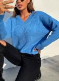 Jersey regular con cuello en V azul otoñal
