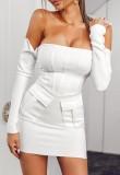 Mini vestido sin tirantes elegante blanco de otoño