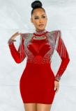 Vestido de fiesta sexy con flecos rojos de otoño