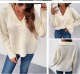 Suéter regular con cuello en V y cuello vuelto beige de otoño