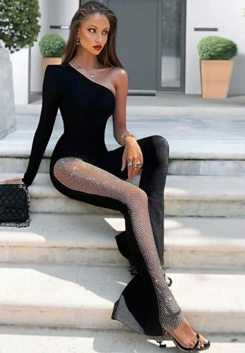 Autumn Black Elegant Patch Mesh One Shoulder Jumpsuit