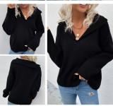 Otoño suéter negro con cuello en V y cuello vuelto suéter regular