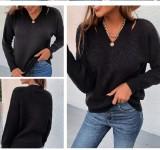 Otoño suéter negro con cuello en V regular