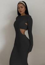 Vestido largo recortado de punto negro otoñal con sujetador a juego